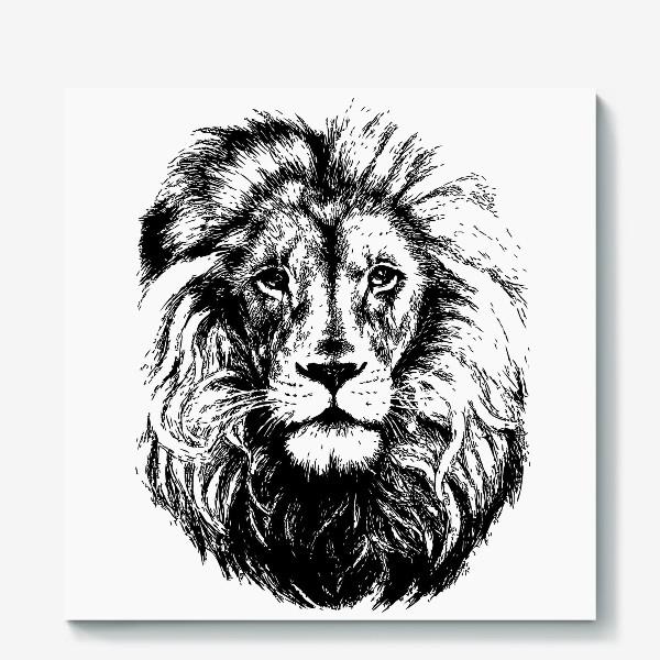 Холст «Принт лев в стиле графика»