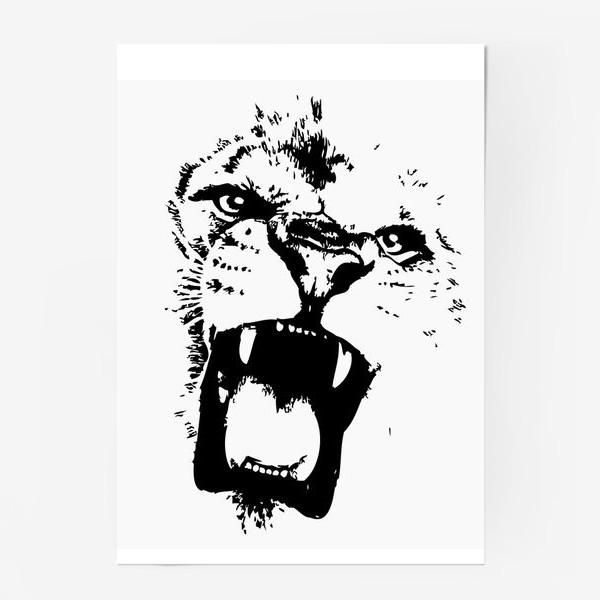 Постер «Принт лев в стиле графика»