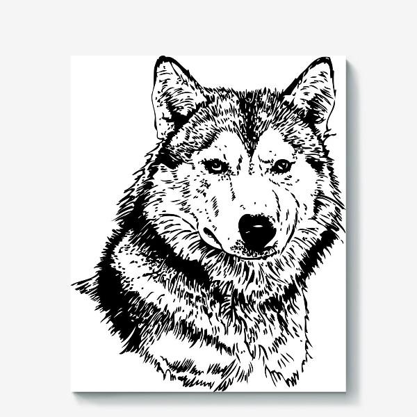 Холст «Принт волк в стиле графика»
