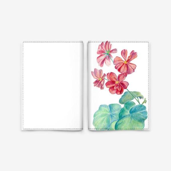 Обложка для паспорта «Герань. Акварель и цветные карандаши»