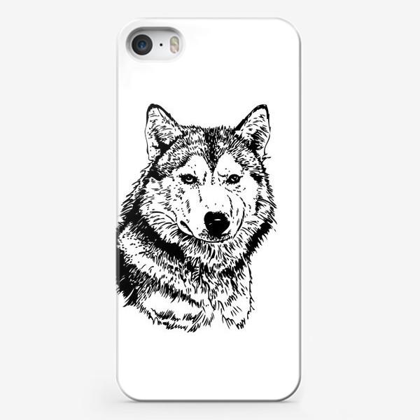 Чехол iPhone «Принт волк в стиле графика»