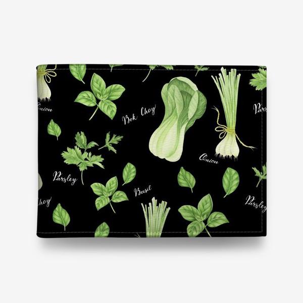 Кошелек «Зеленые овощи на черном фоне»