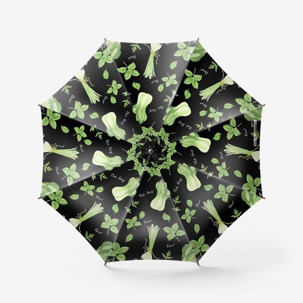 Зонт «Зеленые овощи на черном фоне»