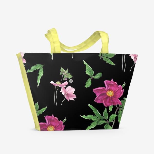 Пляжная сумка «Пионы на черном фоне»