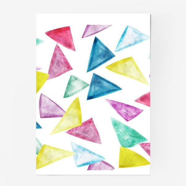 Постер «Акварельный треугольники»