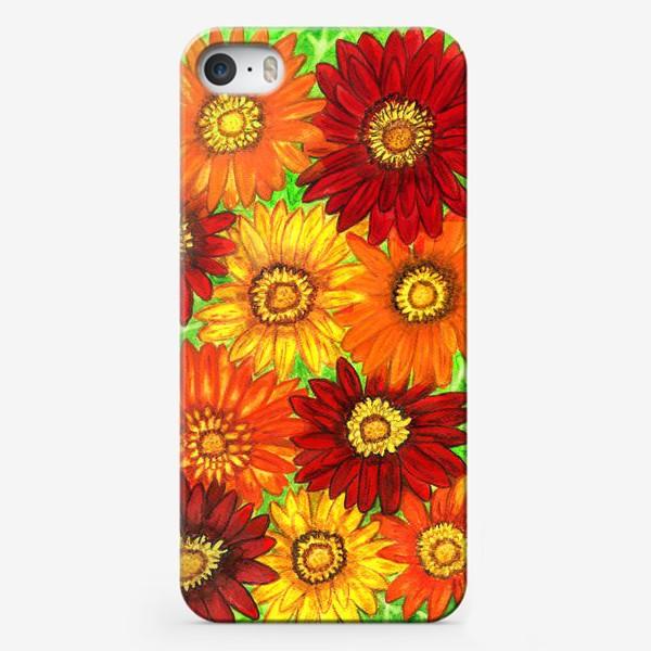 Чехол iPhone «Фон из оранжевых ,красных и жёлтых гербер»