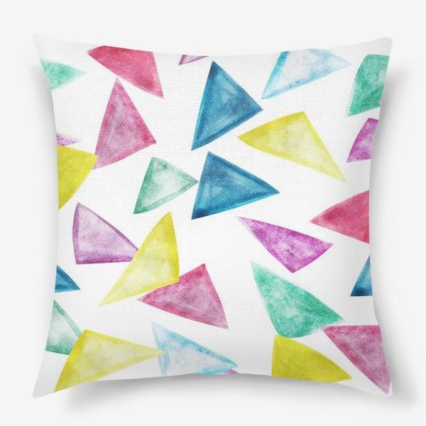 Подушка «Акварельный треугольники»