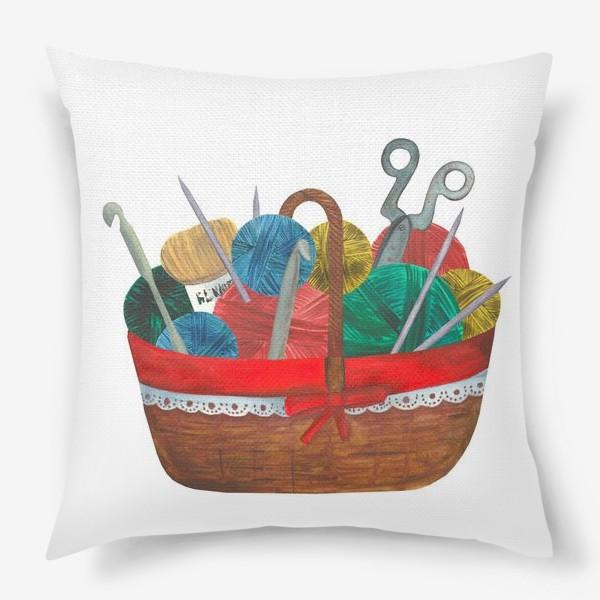 Подушка «Корзинка c вязанием»