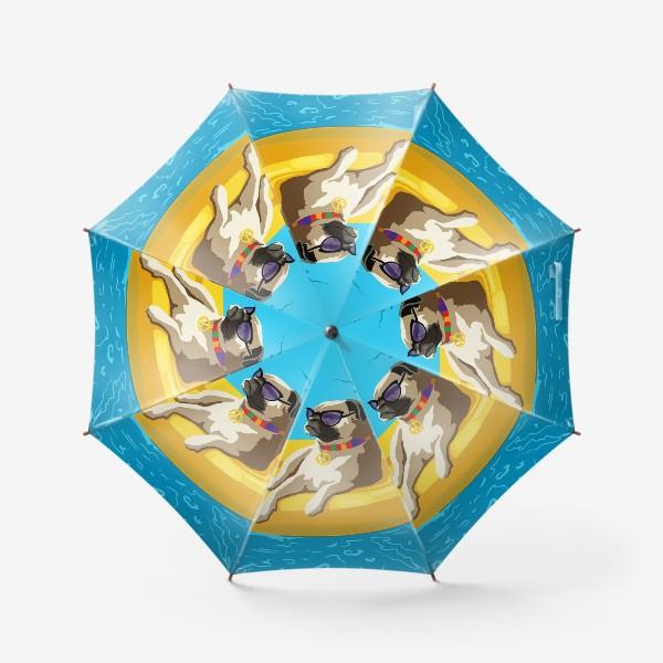 Зонт «Мопс в бассейне»