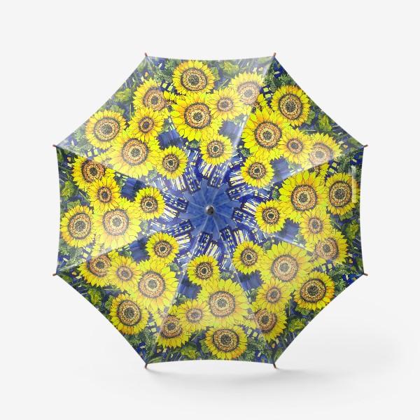 Зонт «Подсолнухи на фоне ночного города»