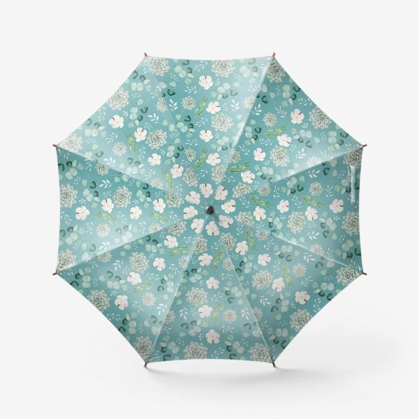 Зонт «Хлопок, эвкалипт и суккуленты на изумрудном»