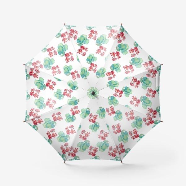 Зонт «Паттерн с красной геранью. Акварель и цветные карандаши»