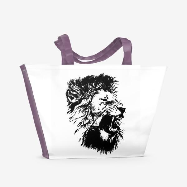 Пляжная сумка «Принт лев в стиле графика»
