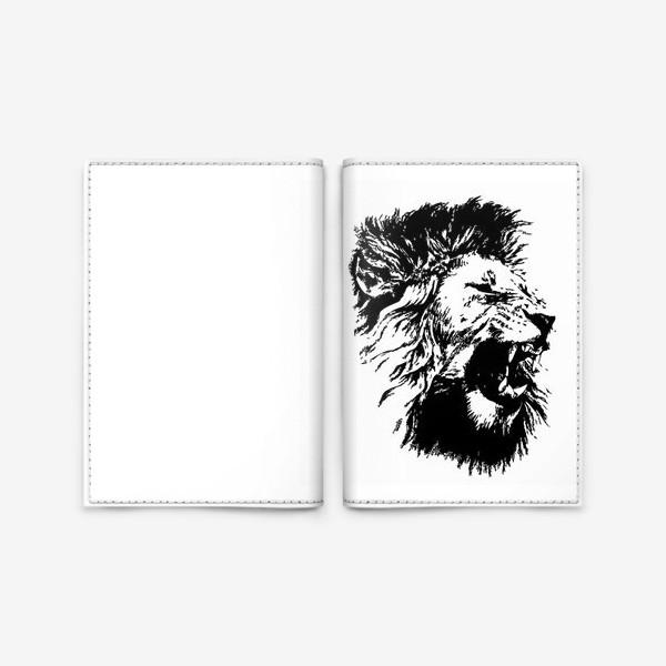 Обложка для паспорта «Принт лев в стиле графика»