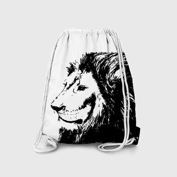 Рюкзак «Принт лев в стиле графика»