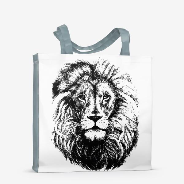 Сумка-шоппер «Принт лев в стиле графика»