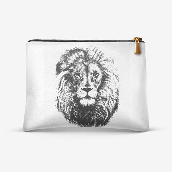 Косметичка «Принт лев в стиле графика»