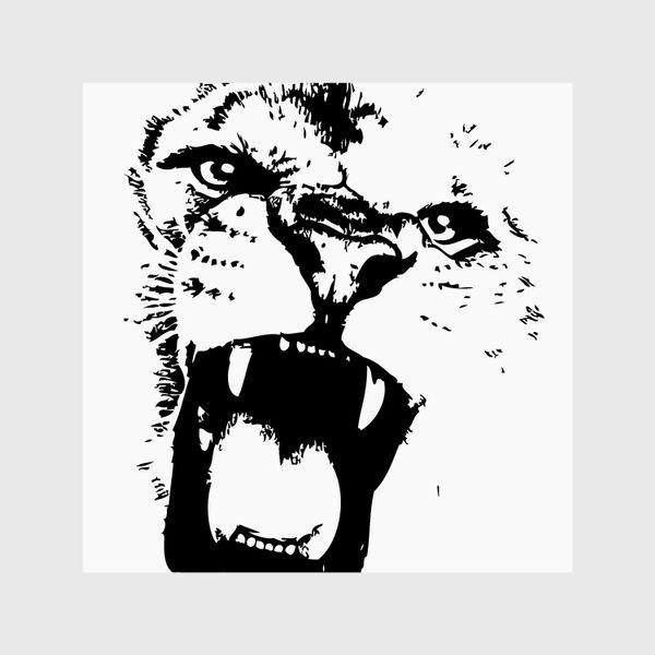 Шторы «Принт лев в стиле графика»