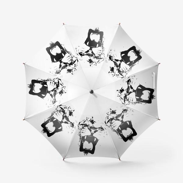 Зонт «Принт лев в стиле графика»
