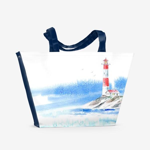 Пляжная сумка «Маяк и море.»