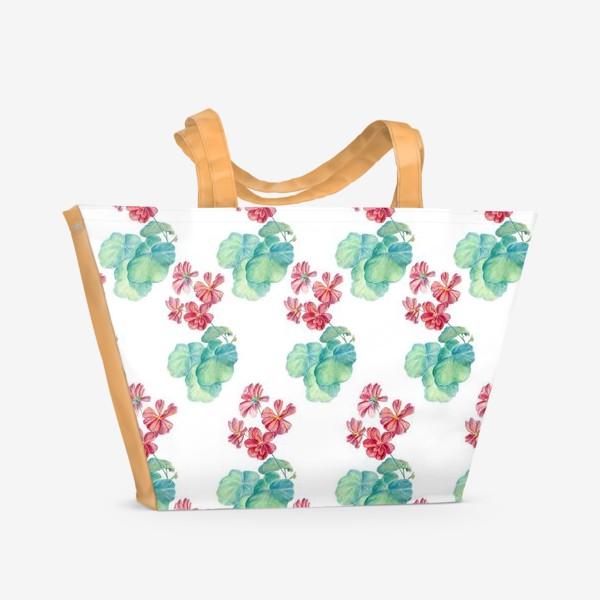 Пляжная сумка «Паттерн с красной геранью. Акварель и цветные карандаши»