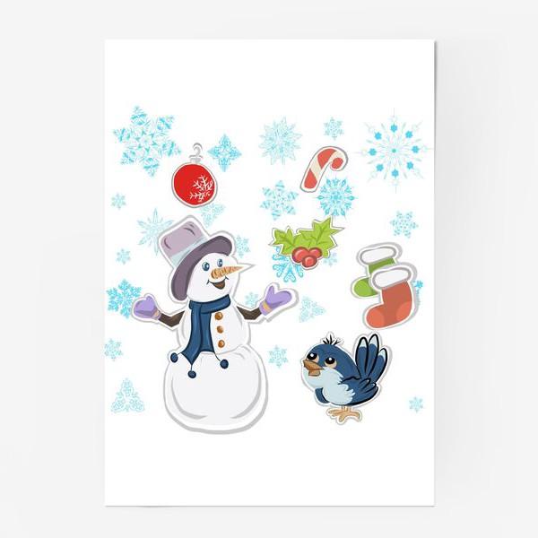 Постер «Новогодний снеговик. С новым годом!»