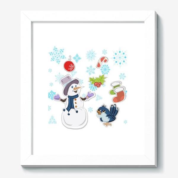 Картина «Новогодний снеговик. С новым годом!»