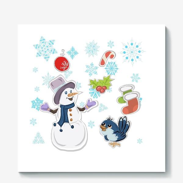 Холст «Новогодний снеговик. С новым годом!»