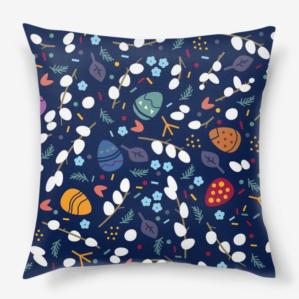 Подушка «Пасхальный паттерн на темно-синем фоне с вербой и яйцами»