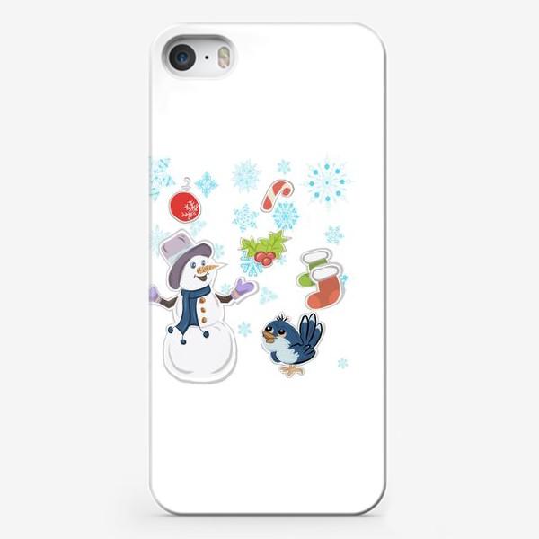 Чехол iPhone «Новогодний снеговик. С новым годом!»