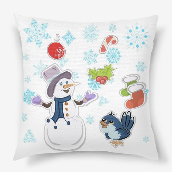 Подушка «Новогодний снеговик. С новым годом!»