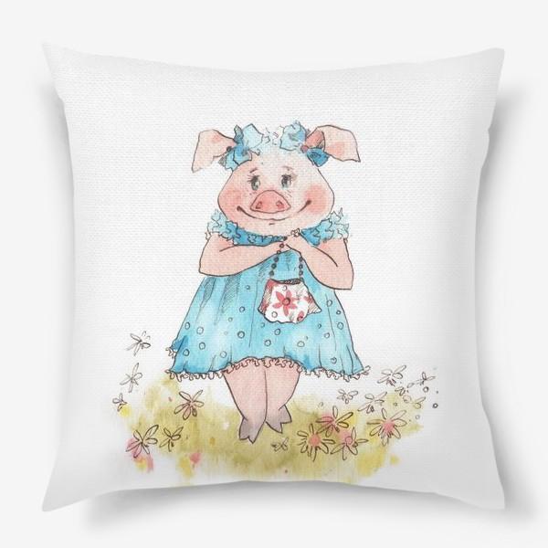 Подушка «Свинка в голубом»