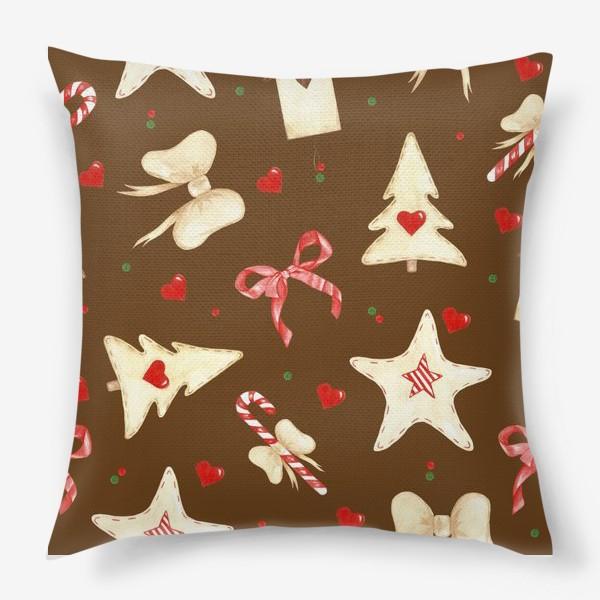 Подушка «новогодний акварельный паттерн »