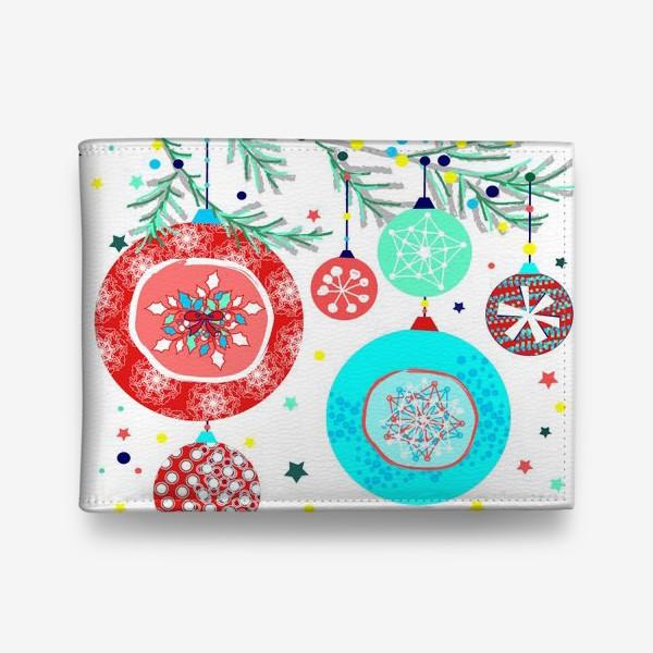 Кошелек «Новый год украшения елка шары иллюстрация конфетти»