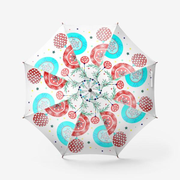 Зонт «Новый год украшения елка шары иллюстрация конфетти»