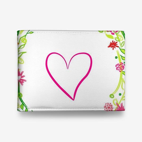 Кошелек «Венок из цветов сердце любовь романтика »