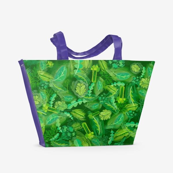 Пляжная сумка «Кухня еда зелень шпинат сельдерей укроп »