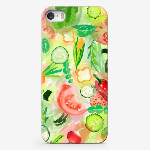 Чехол iPhone «Овощи витамины vegetables огурец помидор перец зелень»