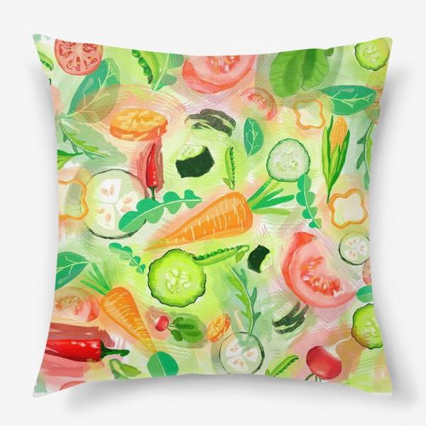 Подушка «Овощи витамины vegetables огурец помидор перец зелень»
