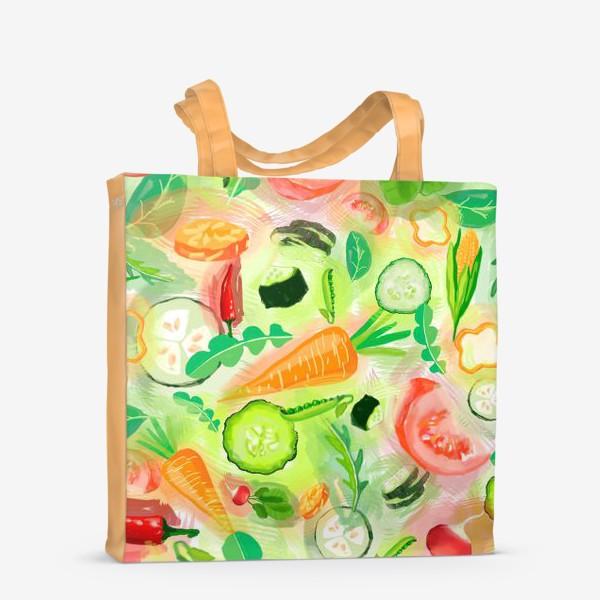 Сумка-шоппер «Овощи витамины vegetables огурец помидор перец зелень»