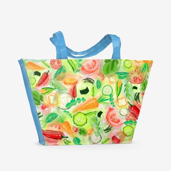 Пляжная сумка «Овощи витамины vegetables огурец помидор перец зелень»