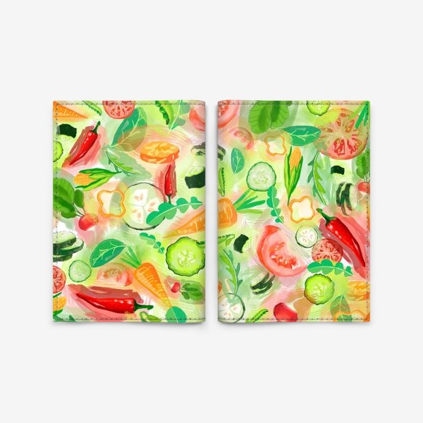 Обложка для паспорта «Овощи витамины vegetables огурец помидор перец зелень»