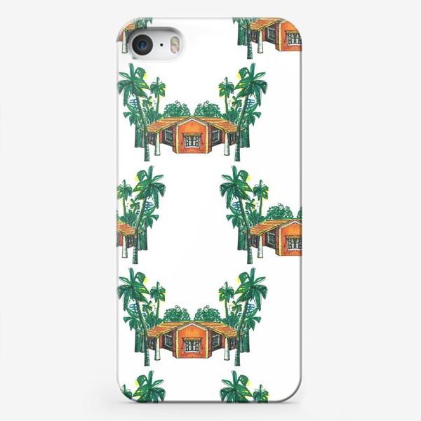 Чехол iPhone «Паттерн дома пальмы рисунок»