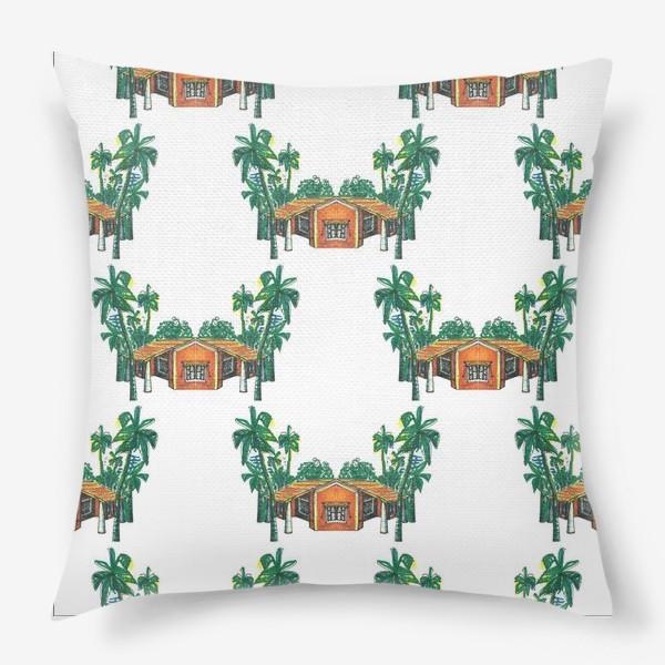 Подушка «Паттерн дома пальмы рисунок»