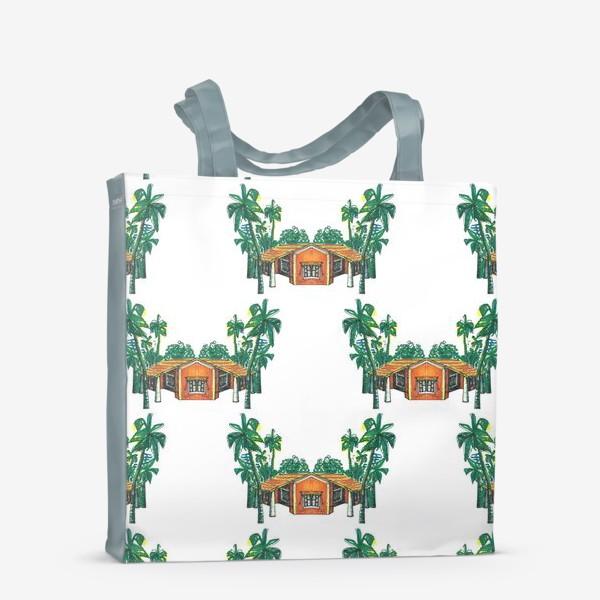 Сумка-шоппер «Паттерн дома пальмы рисунок»