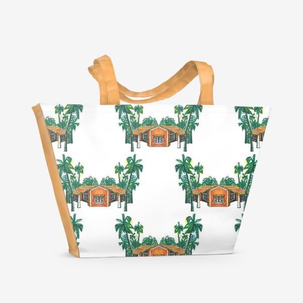 Пляжная сумка «Паттерн дома пальмы рисунок»