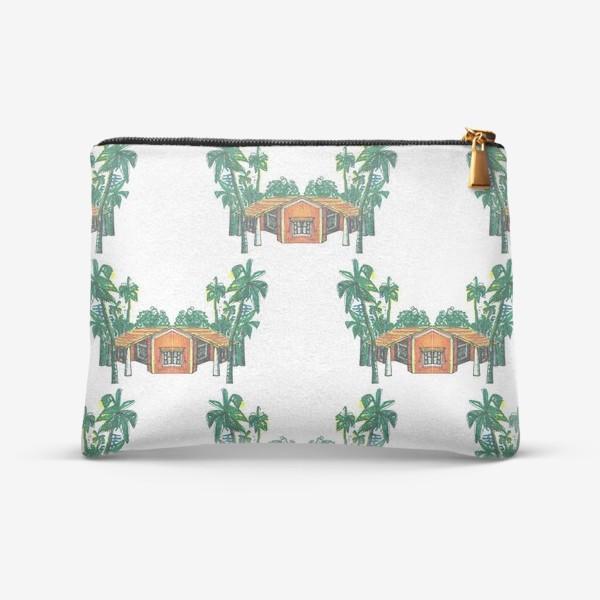 Косметичка «Паттерн дома пальмы рисунок»