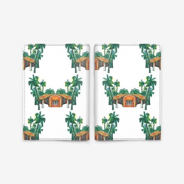 Обложка для паспорта «Паттерн дома пальмы рисунок»