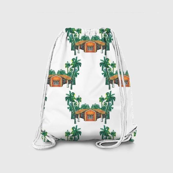 Рюкзак «Паттерн дома пальмы рисунок»