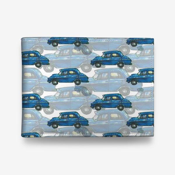 Кошелек «Авто тачки машины синий паттерн »